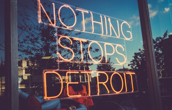 Картинка отражения, USA, США, магазин, Detroit, витрина, Детройт