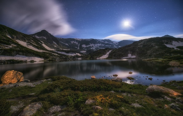 Картинка звезды, горы, ночь, озеро, луна