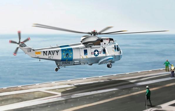 Картинка рисунок, арт, художник, палуба, вертолёт, американский, ВС США, Sea King, Vincenzo Auletta, SH-3G