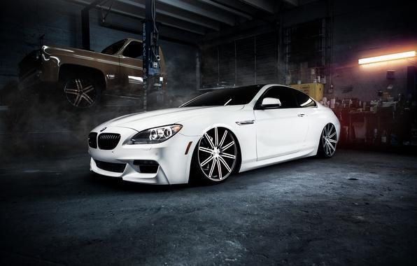 Картинка бмв, гараж, BMW, белая, white