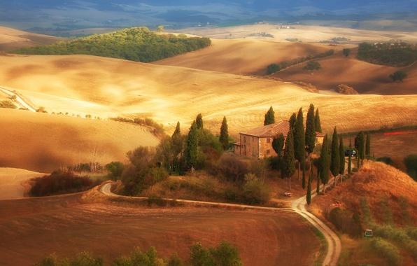 Картинка дорога, деревья, дом, поля, Италия, Тоскана
