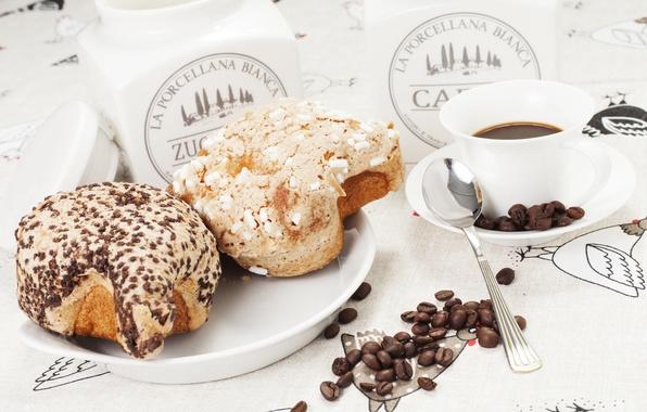 Картинка кофе, кофейные зерна, булочки