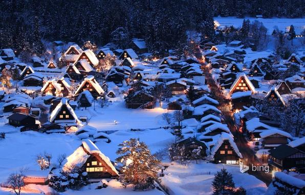 Картинка зима, снег, ночь, огни, Япония, долина, остров Хонсю, Гокаяма, Сиракава-го
