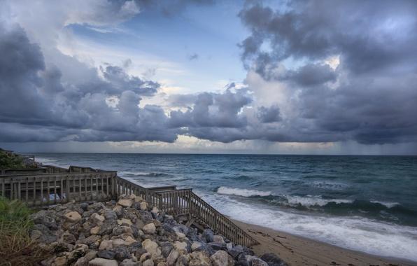 Картинка песок, море, волны, пляж, небо, вода, облака, пейзаж, природа, камни, фон, widescreen, обои, волна, лестница, …
