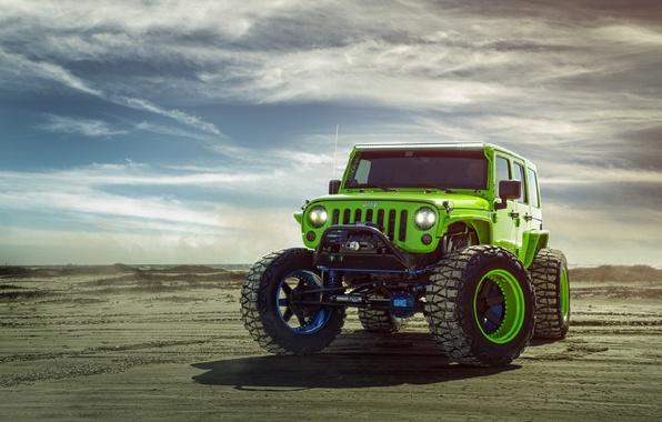 Картинка Green, Front, Forged, Custom, Wrangler, Jeep, Wheels, Track, ADV1, Function
