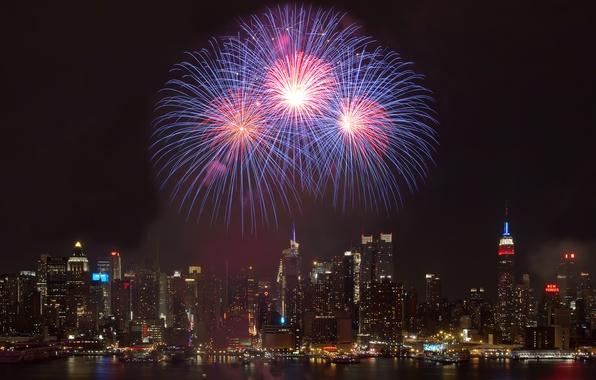 Картинка ночь, city, город, праздник, здания, салют, фейерверк, night, holiday, buildings, 2560x1440, firework