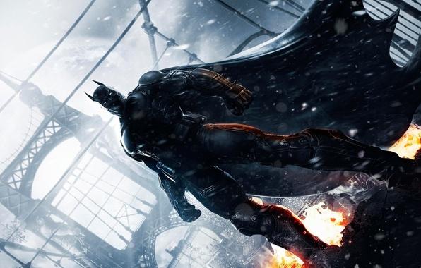 Картинка снег, мост, огонь, костюм, броня, плащ, Брюс Вейн, Bruce Wayne, Batman: Arkham Origins, Warner Bros. …