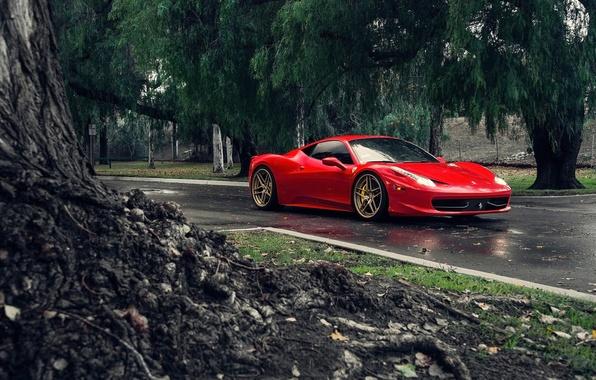 Картинка Ferrari, Red, 458, Front, Tuning, Supercars, Italia, Road, Klassen iD