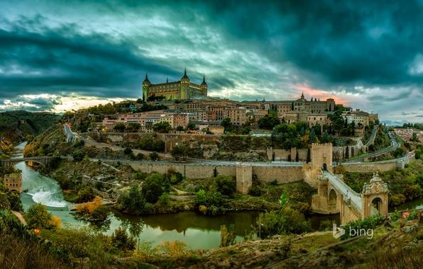 Картинка небо, облака, деревья, пейзаж, закат, мост, река, замок, башня, дома, холм, испания, Spain, Toledo, толедо