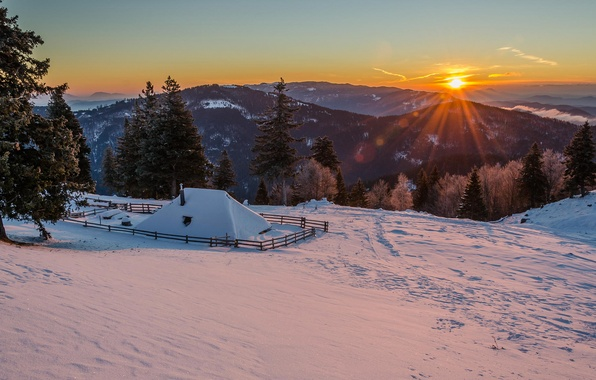 Картинка зима, солнце, снег, горы, утро