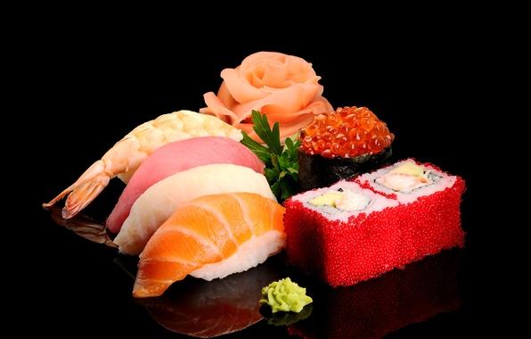 Картинка зелень, рыба, рис, черный фон, икра, суши, креветки, морепродукты, васаби, лосось, тунец