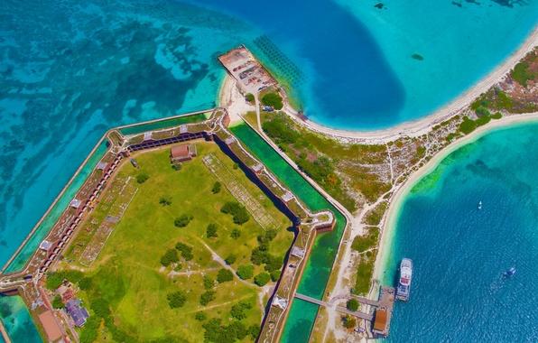 Картинка море, Флорида, США, крепость, Dry Tortugas National Park, форт Джефферсон