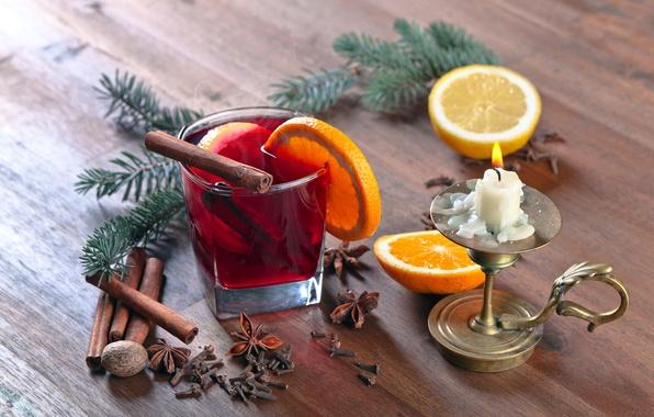 Картинка елка, горячий, апельсин, свеча, Рождество, Новый год, hot, корица, background, orange, New Year, candle, cinnamon, …
