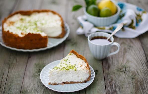 Фото обои кофе, ложка, чашка, торт, тарелки, лайм, фрукты, десерт, выпечка, чизкейк, Julia Khusainova