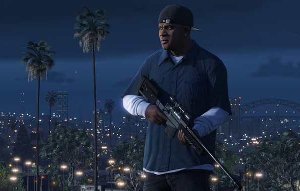 Картинка Game, Weapons, Grand Theft Auto V, GTA V, Franklin, Clinton, Los Santos, Nigth