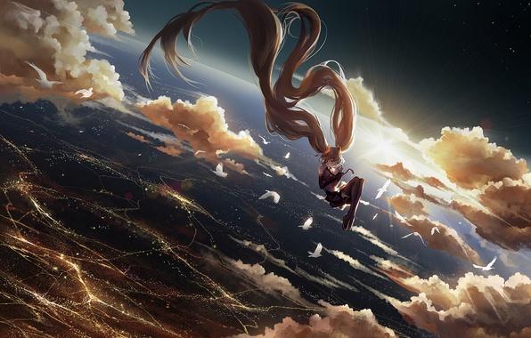 Картинка небо, девушка, солнце, звезды, облака, закат, птицы, город, огни, волосы, высота, аниме, арт, vocaloid, hatsune …