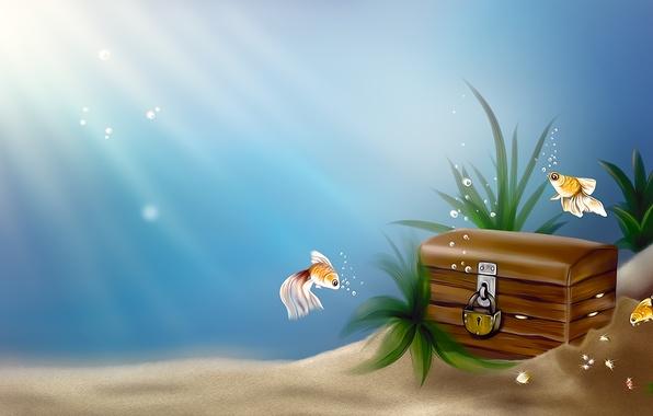 Картинка море, рыбки, рыбы, пузырьки, замок, арт, клад, сундук, под водой, золотые