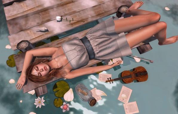 Картинка вода, девушка, цветы, скрипка