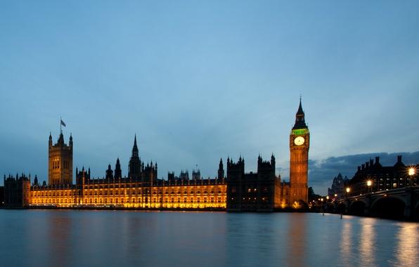 Картинка ночь, мост, city, город, lights, огни, река, Англия, Лондон, здания, освещение, фонари, Великобритания, Темза, Биг …