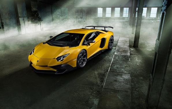 Картинка машина, желтый, Lamborghini, суперкар, вид спереди, красавец, Aventador, ламборгини, Novitec, Torado, LP 750-4