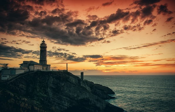 Картинка море, скала, рассвет, маяк, утро