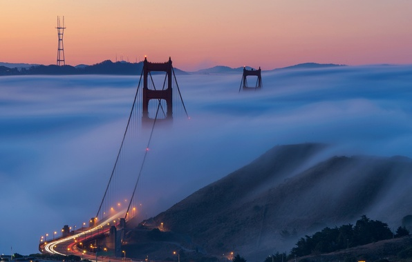 Картинка city, lights, USA, Golden Gate Bridge, road, landscape, bridge, photo, sunset, night, California, evening, San …