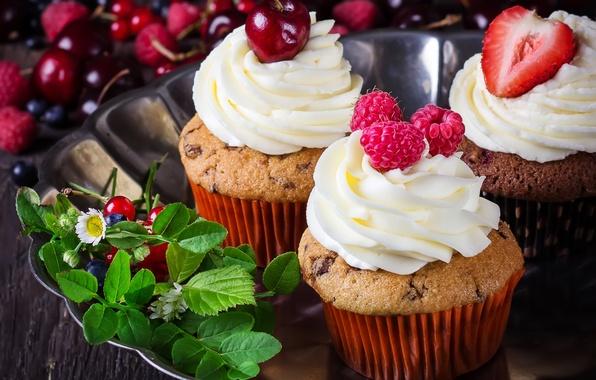Картинка цветы, вишня, ягоды, малина, клубника, крем, десерт, пирожные, маффины