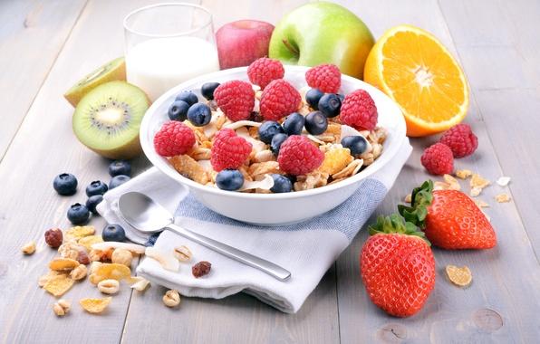 Картинка ягоды, малина, завтрак, молоко, черника, клубника, фрукты, злаки, fresh, berries, breakfast, мюсли, muesli, healthy