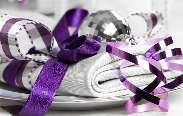 Картинка ленты, праздник, новый год, шар, ткань, декорации, happy new year, christmas decoration, новогодние обои, christmas …