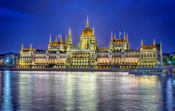 Картинка вода, ночь, город, отражение, река, здание, освещение, парламент, Венгрия, Hungary, Будапешт, Дунай, Budapest, Magyarország