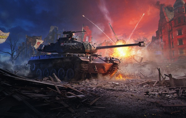 Фото обои Бульдог, WoT, World of Tanks, Мир Танков, Wargaming Net, M 41 90 GF, Немецкий Бульдог, ...