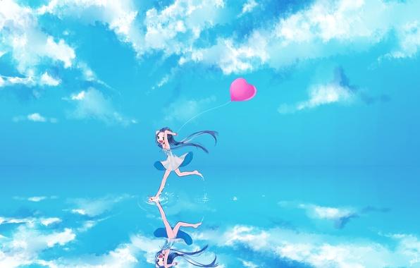 Картинка небо, вода, девушка, облака, радость, отражение, шарик, арт, vocaloid, hatsune miku, сердечко, вокалоид, gotoh510
