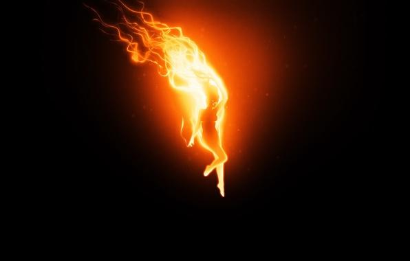 Картинка девушка, огонь, Черный