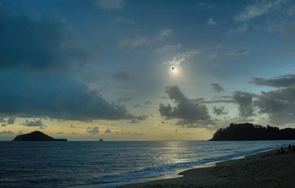 Картинка облака, океан, Солнце, Луна, Австралия, затмение, Australia, Queensland, Квинсленд
