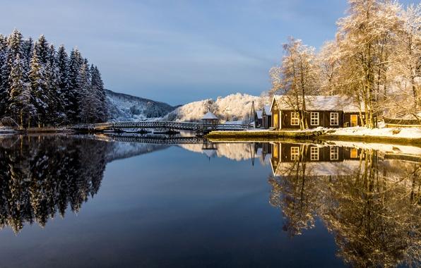 Картинка зима, иней, лес, небо, снег, деревья, озеро, дом, отражение, мостик, беседка