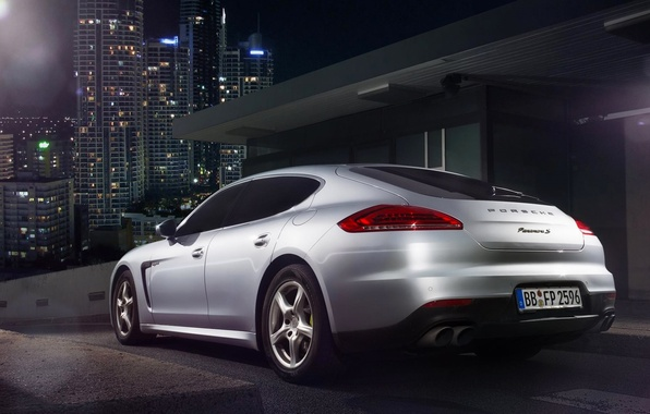 Картинка Porsche, City, Car, Silver, Rear, Ligth, Nigth, Scape, Panamera S