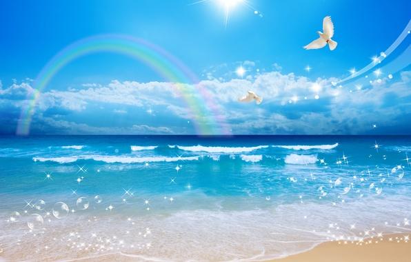 Картинка песок, море, волны, небо, солнце, облака, полет, пейзаж, пузырьки, берег, красота, радуга, белые голуби