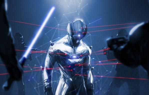 Картинка темно, человек, герой, костюм, шлем, лазерный прицел, под прицелом, окружен