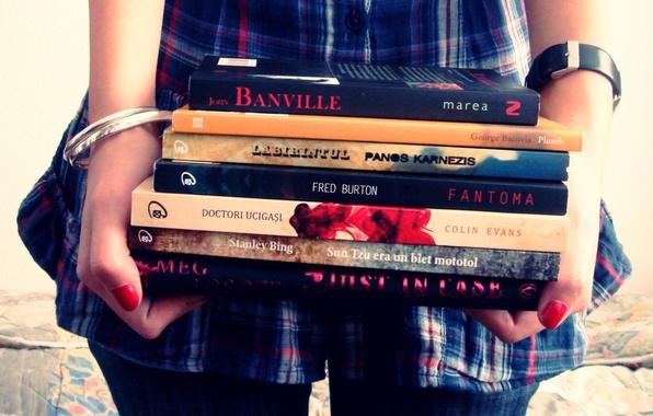 Картинка девушка, учеба, книги, руки