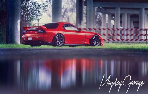 Картинка red, Mazda, rear, RX-7