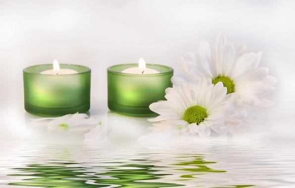 Картинка вода, цветы, свечи, water, flowers, candles, белые хризантемы, white chrysanthemum