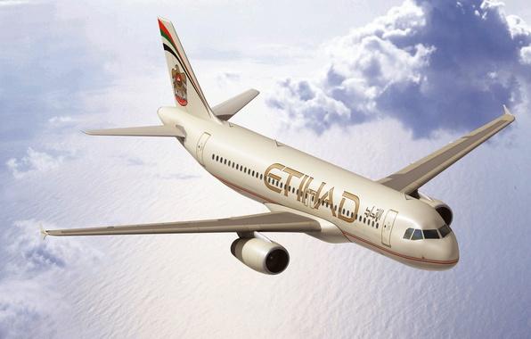 Картинка Облака, Море, Самолет, Полет, Boeing, Боинг, Пассажирский, 737, В Воздухе, Летит, Etihad Airways, Авиалайнер