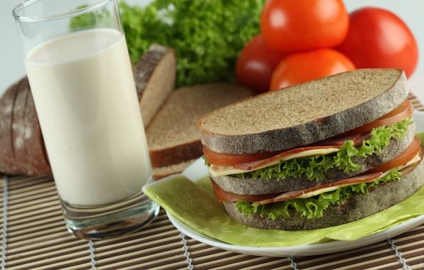 Картинка еда, молоко, хлеб, бутерброд, помидоры, продукты