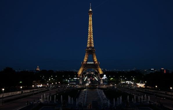 Картинка ночь, город, огни, Франция, Париж, Эйфелева башня
