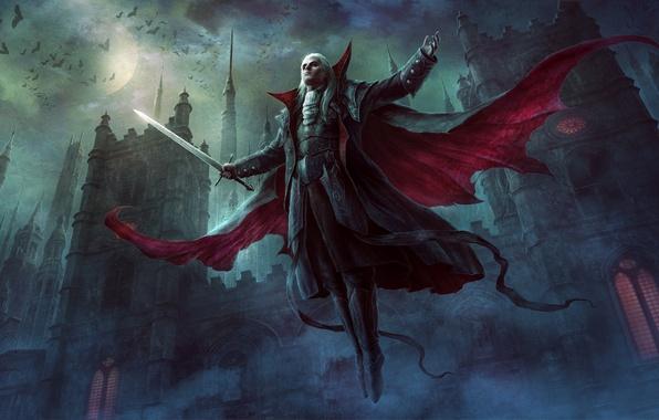 Картинка ночь, замок, тьма, луна, темно, меч, вампир, летучие мыши, плащ, полнолуние