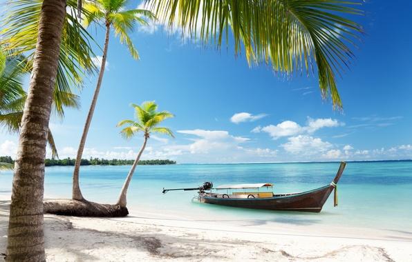 Картинка песок, море, пляж, небо, солнце, тропики, пальмы, океан, берег, лодка, summer, sunshine, beach, sky, sea, …