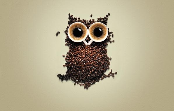 Картинка сова, кофе, зерна, кружки