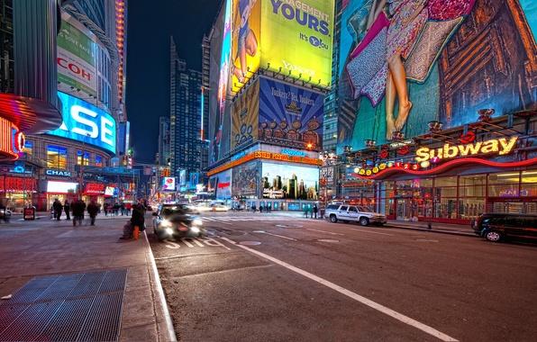Картинка ночь, нью-йорк, night, new york, usa, nyc, Times Square, 42nd and 7th