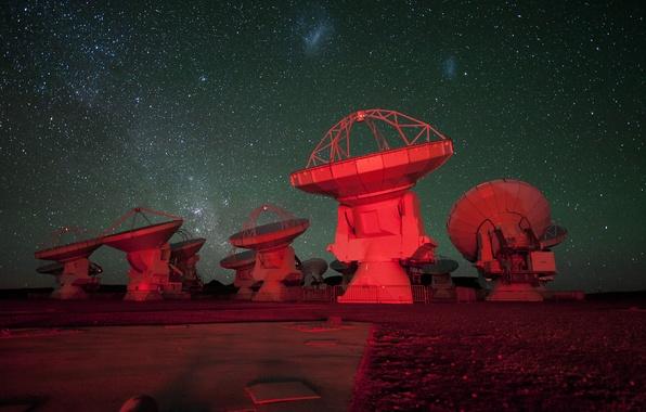 Картинка небо, звезды, антенна, радиотелескоп