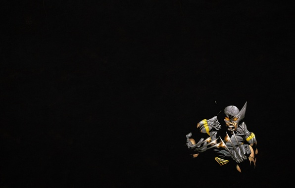 Картинка темный фон, минимализм, злой, Росомаха, Логан, люди икс, Wolverine, Marvel, x-men, Comics, стальные когти